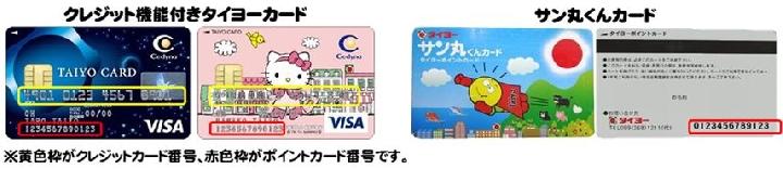 2014年12月17日よりタイヨーグループ全店の店頭やタイヨーネットスーパーにてタイヨーカード以外のクレジットカードでカード決済をされた場合は、ポイント付与の対象外となります。 また、ポイントカード会員企画のお買物券なども対象外となります。 予めご了承ください。 ※ポイントカードを変更をされた際には、タイヨーネットスーパーのご登録情報も必ずお客様ご自身で変更を行ってください。  ご登録情報の変更・確認手順は下記よりご確認下さい。 ※タイヨーネットスーパーにてポイントカードをご登録いただいているお客様は、タイヨーカードでのカード決済時、またはタイヨーカード・サン丸くんカードでの代引決済時に加点の対象となります。